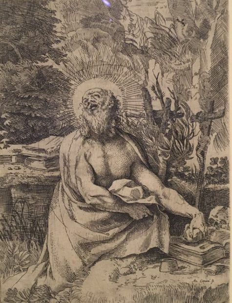 Annibale Caracci, Saint Jerome in the Wilderness, 1591, etching on laid paper, state III/IV