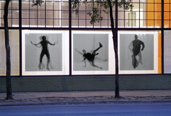 Parallax, 2009, UV ink on 1/2″ acrylic, fabric screen, 20 x 10 x 9 ft., Artpace (permanently installed at University of Texas, San Antonio)