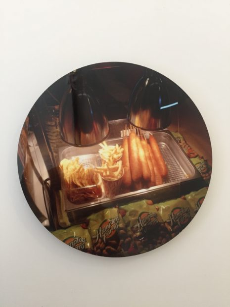 "Nancy Lamb, CORNY DOGSSSSS, Inkjet print on metal, 8"" tondo"