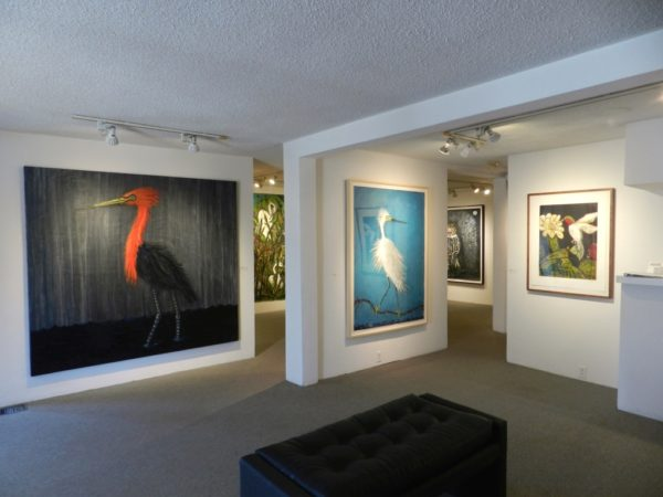 <Installation View, Foreground, Left to Right> Frank X. Tolbert, Reddish Egret (Oil and graphite on canvas), Snowy Egret (Oilstick and graphite on paper) and Ruby-Throated Hummingbird (Color etching on Rives BFK)