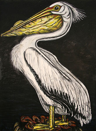 Frank X. Tolbert, White Pelican, 2015, oilstick on paper, 60 x 44 in.