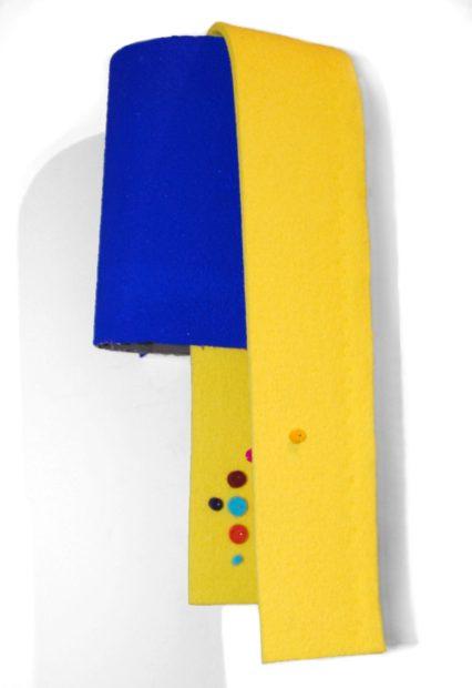 Sensorium #2, Le Corbusier acrylic paint, virgin wool felt, tailor's pins, sandpaper, and wood, 16 x 7 x 7 inches, 2017
