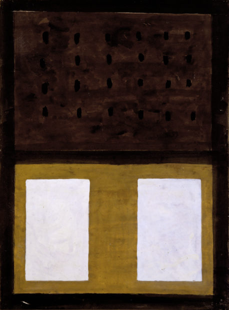 Agnes Martin, The Book, 1959. Gouache and ink on paper mounted on canvas, 23 15/16 × 17 7/8 in. (60.8 × 45.4 cm). The Menil Collection, Houston.