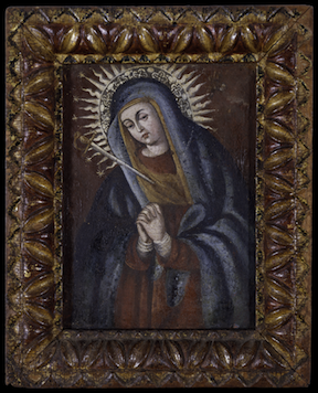 Anonymous Venezuelan Painter from the School of Tocuyo, La Dolorosa, 18th century, oil on canvas mounted on wood panel, 13 9/16 x 11 in., Blanton Museum of Art, The University of Texas at Austin, Gift of Patricia Phelps de Cisneros, 2016. Photo Courtesy of Colección Patricia Phelps de Cisneros.