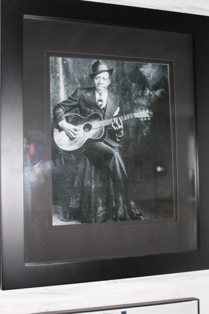 Robert Johnson With Guitar. One of two widely accepted images of the artist.