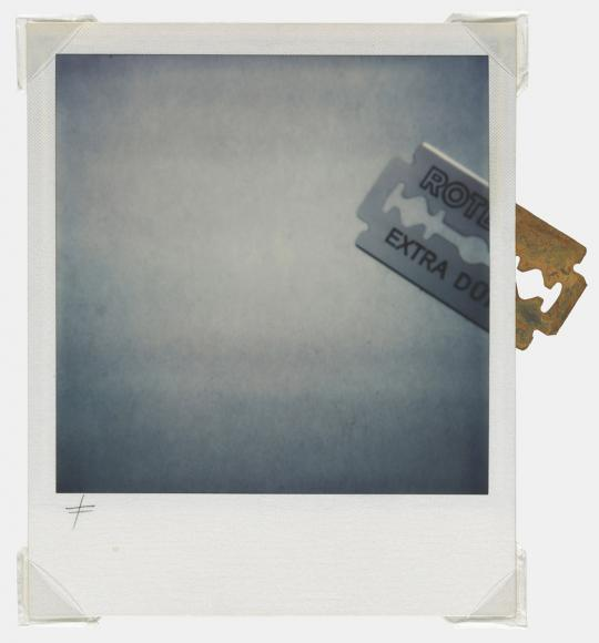 James Nitsch (b. 1952) Razor blade, 1976 Polaroid SX-70 Assemblage with razor blade
