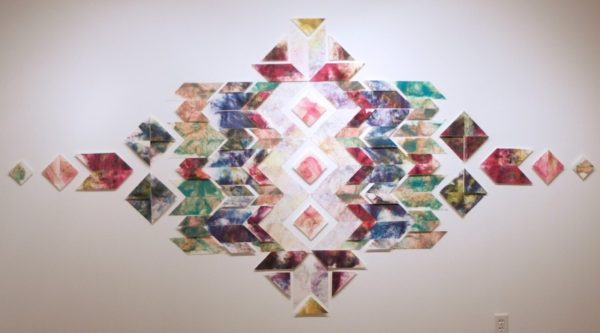 Casey Galloway, The Quilt, Handmade cotton paper, dye, and pins, Various dimensions, 2015