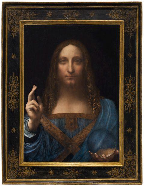 "Leonardo da Vinci, ""Salvator Mundi"" (c.1500), oil on panel, 25 7/8 x 18 in.(65.7 x 45.7 cm) (image courtesy Christie's)"