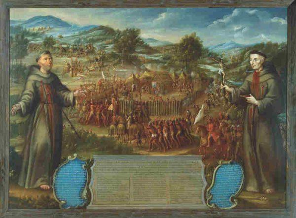 José de Páez (New Spain, 1720-1790) Martyrdom of Franciscans at Mission San Saba (El Matirio de los Franciscanos en la Misión de San Sabá), ca. 1765