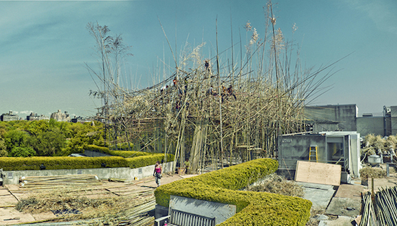 Doug + Mike Starn installing Big Bambú: You Can't, You Don't, and You Won't Stop at the Metropolitan Museum of Art