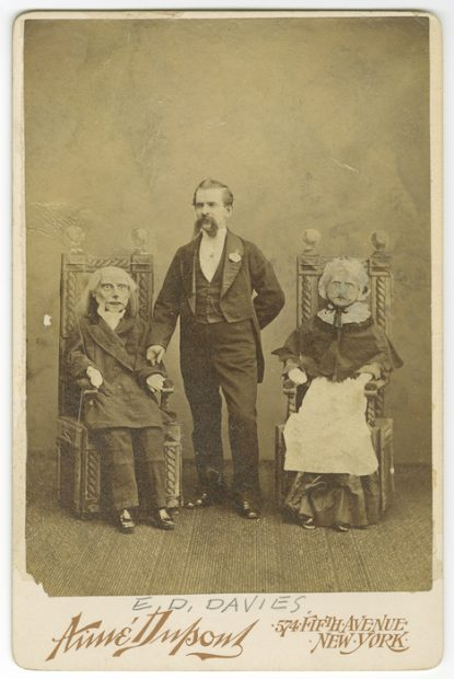 Aimé Dupont (American, 1842-1900), [E. D. Davies and his ventriloquism puppets], ca. 1874. Albumen silver print, 16.5 x 11 cm. Messmore Kendall / Harry Houdini Papers, Harry Ransom Center.