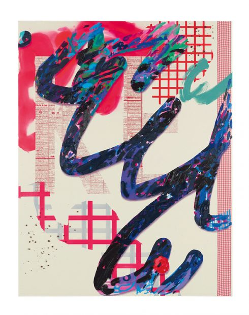 Laura Owens, Untitled, 2012, acrylic, oil, vinyl paint, resin, pumice, and fabric on canvas