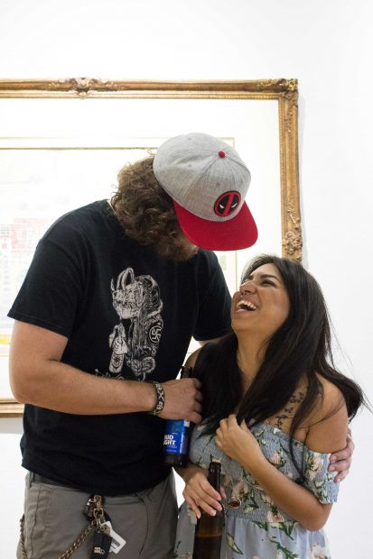 Image-from-the-opening of Anne Reese Hernandez's show at Gspot Gallery in Houston Patrick Hooyman and Stephanie-Ortega