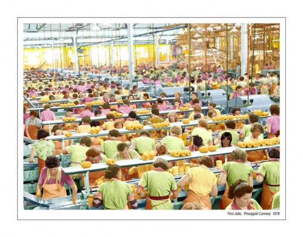 """Image of Tracey Moffatt as pine-apple cannery assembly line worker in """"First Jobs"""" series"""