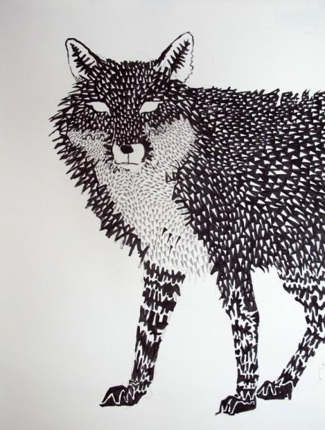 Fox Mask 3, 2011, acrylic on paper