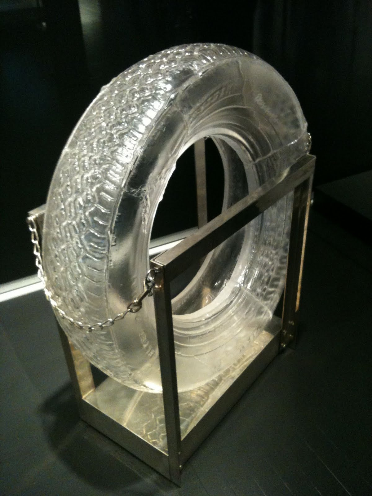 """""""Untitled (Glass Tires),"""" 1997, blown glass and silver plated brass"""