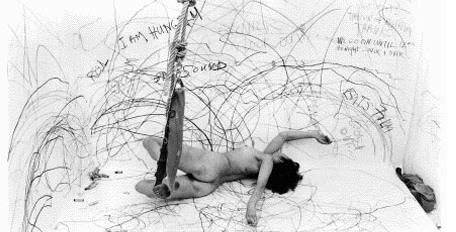 """Sure, we (artists/ladies/somebody's bitches) can do it all if we want to. Remind me again why want to?Carolee Schneeman's """"Up to and Including Her Limits"""" 1973-1976"""