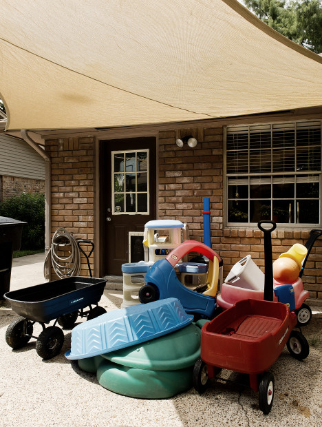 The backyard is often home to art supplies for us such as discarded children's toys.  The bright molded plastic toys have been used in numerous videos and photographs.