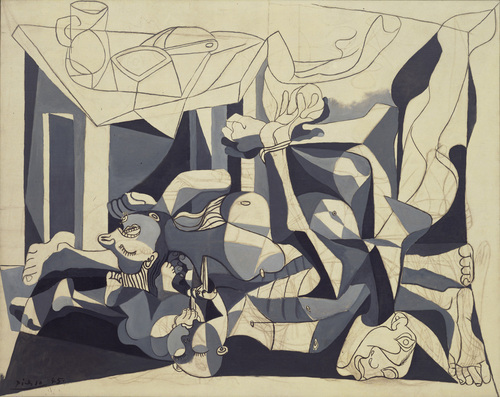 """The Charnel House, Pablo Picasso (Spanish, 1881–1973)  Paris, 1944-45. Oil and charcoal on canvas, 6' 6 5/8"""" x 8' 2 1/2"""" (199.8 x 250.1 cm). Mrs. Sam A. Lewisohn Bequest (by exchange), and Mrs. Marya Bernard Fund in memory of her husband Dr. Bernard Bernard, and anonymous funds. © 2013 Estate of Pablo Picasso / Artists Rights Society (ARS), New York"""