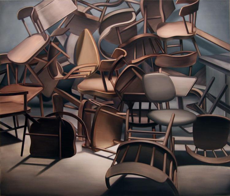 "Carl Hammoud, ""Diorama,"" oil on linen, 51 1/16 x 59 inches"
