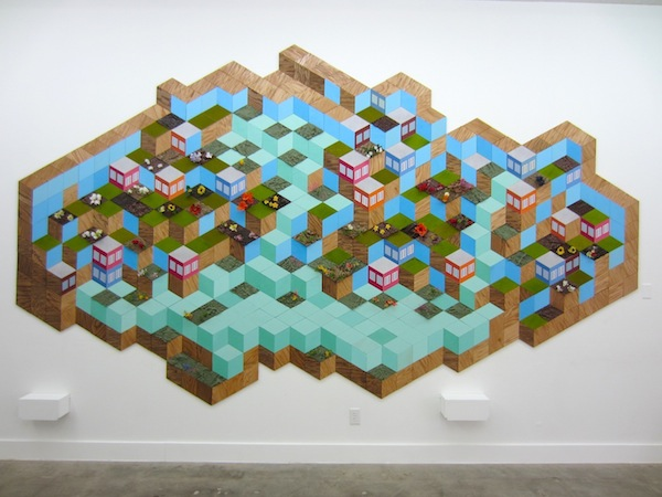 """Variable Landscape, plywood, paint, foam, stain, plastic plants, mounted giclee prints, 110"""" x 192"""", 2013, installation view"""