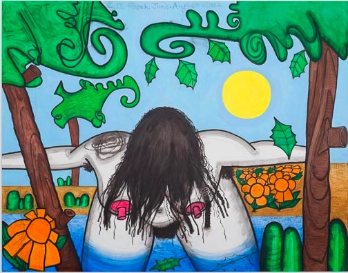 """Carroll Dunham, """"Next Bathers, four (wash), 2012 mixed media on linen, 64 1/4 x 78 1/4 inches"""