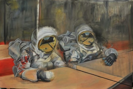 """""""One-Sided Conversation"""" by Caleb Sims. """"My series of large oil paintings explore the theme of isolation,"""" Sims said. """"The astronaut suit symbolizes a contradiction between the security of the suit and the isolation it causes by separating the wearer from all outside interaction."""""""