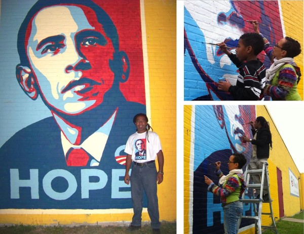"Mural #1 ""Hope"" painted October 2008, vandalised March 2010, November 2010, and October 2012"