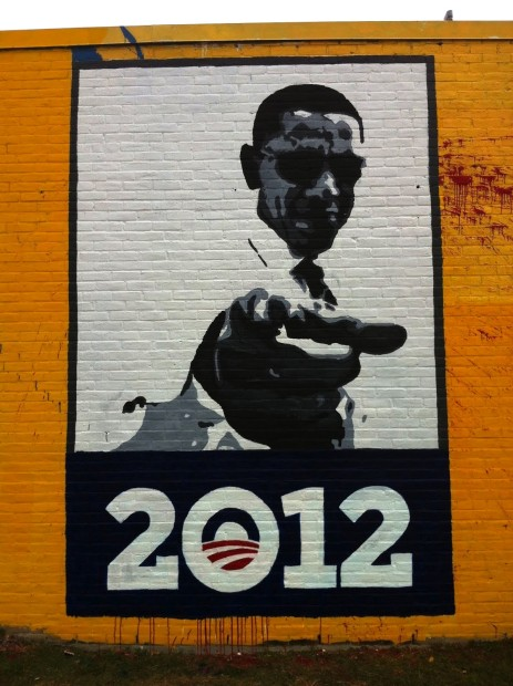 "Mural # 2 ""Obama 2012"" painted October 2012, vandalised January 2012"