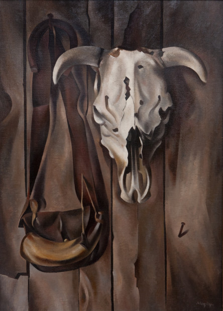 Loren Mozley, Skull and Powderhorn, c. 1941, Oil on canvas, Overall: 40 x 30 in.,Private Collection