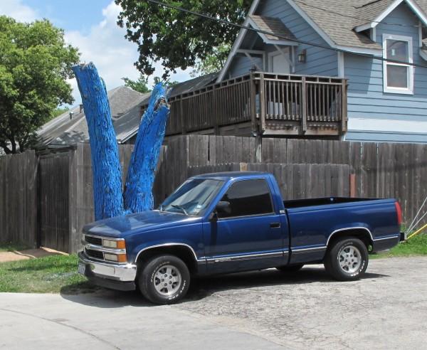 blue tree truck