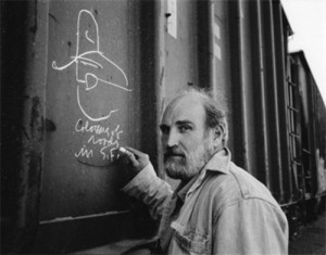 Still from the film Who Is Bozo Texino? by Bill Daniel. He hopped trains and slept in boxcars while filming this documentary on hobo graffiti, completed in 2005.