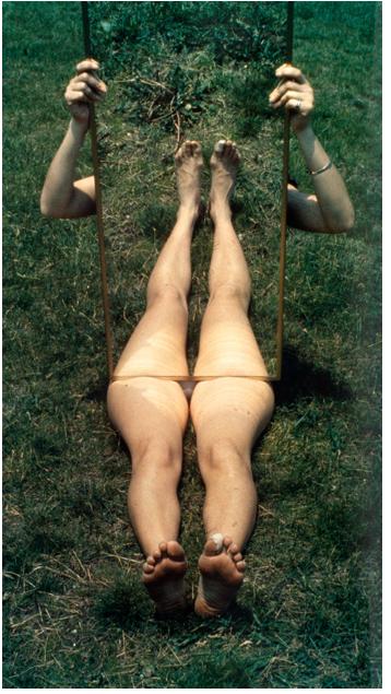 "Joan Jonas, ""Mirror Piece 1,"" 1969, chromogenic print, 101 x 55.6 cm"