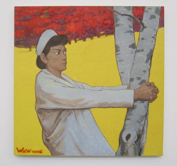 """Wang Xingwei, """"Untitled (Nurse Hugging a Tree),"""" 2006"""
