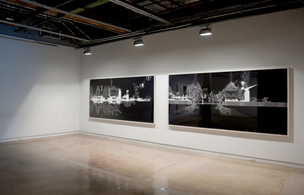 Seher Shah, Geometric Landscapes and the Spectacle of Force and The Mirror Spectacle, installation view.