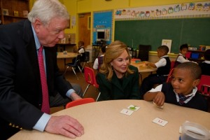 Rich and Nancy Kinder on a classroom visit. Photo by Mike Feldman
