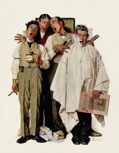 """Barbershop Quartet,"" Norman Rockwell, 1936. ©1936 SEPS: Licensed by Curtis Publishing, Indianapolis, IN."