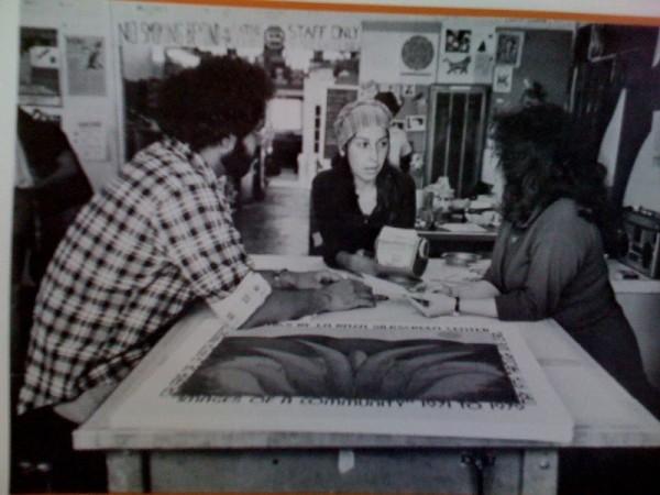 Oscar Melara, Linda Lucero, and Regina Anaya at La Raza Silkscreen Center in San Francisco, 1979. Image courtesy of Linda Lucero.