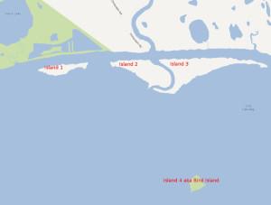 Several possible Forrest Bess Islands