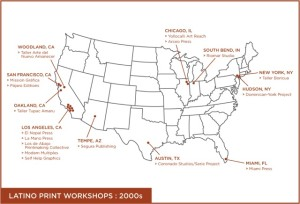 """From Tatiana Reinoza, """"Latino Print Cultures in the U.S., 1970-2008"""" (Ph.D. dissertation, University of Texas at Austin, in progress). Map designed by Paul del Bosque, 2012."""