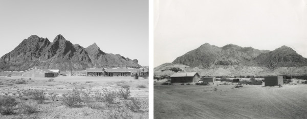 Jason Reed, Motel, Terlingua, 2011 and W.D. Smithers, View of Study Butte, Texas, 1932.