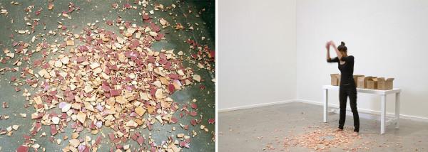 Quebrar el Silencio (Break the Silence), performance, 2011, four hundred and fifty ceramic body bag tags, dimensions vary.