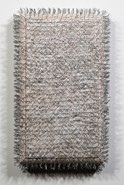 Arthur Pena, attempt 59, 2013. Pine, gesso and staples.