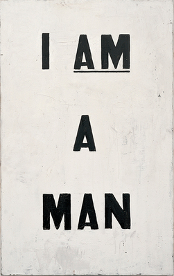 Glenn Ligon (b. 1960), Untitled (I Am a Man), 1988. Oil and enamel on canvas. Collection of the artist © Glenn Ligon; photograph by Ronald Amstutz. Ligon's reinterpretation of the signs carried during the Memphis Sanitation Strike in 1968, visited by Dr. King weeks before his assassination.