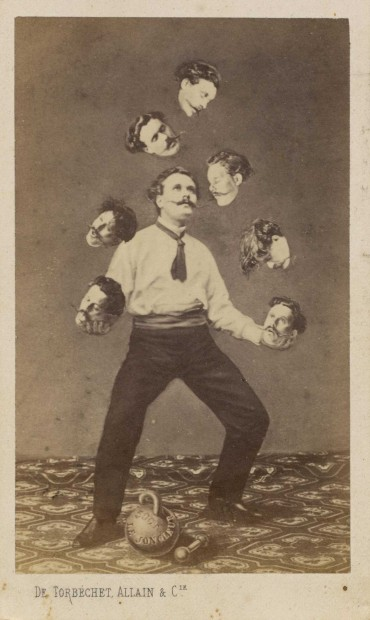 Unknown artist, Man Juggling His Own Head, c. 1880, published by Allain de Torbéchet et Cie, albumen silver print from glass negative, collection of Christophe Goeury