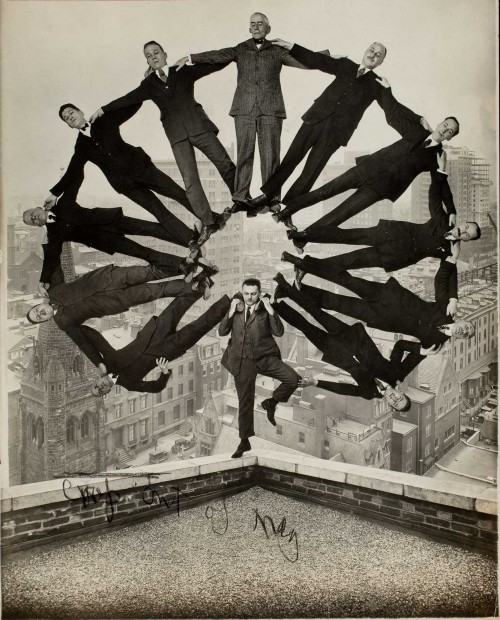 Unknown American artist, Man on Rooftop with Eleven Men in Formation on His Shoulders, c. 1930, gelatin silver print, George Eastman House, courtesy of George Eastman House, International Museum of Photography and Film, Rochester, New York