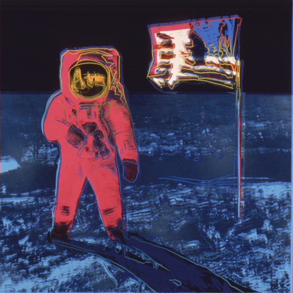 "Andy Warhol, ""Moonwalk"" (1987), silkscreen on paper, showing Buzz Aldrin standing on the moon."