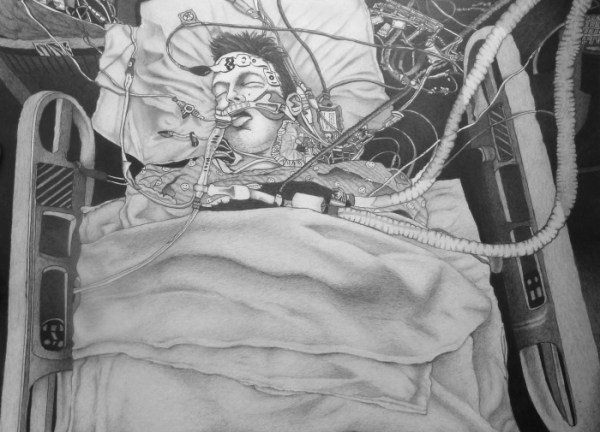 """Michael Bise, Sleeping Man, 2012 graphite on paper, 14 1/2"""" x 19 1/4"""", Courtesy of the artist and Moody Gallery"""