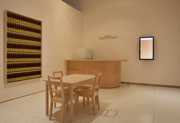 Tom Marioni. The Act of Drinking Beer with Friends is the Highest Form of Art, 1970–ongoing. Dimensions variable. Installation view at the Smart Museum of Art, The University of Chicago. Courtesy of the artist.