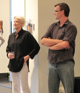 Virginia Rutlege and Shea Little at the Biennial opening at Lawndale Art Center in Houston
